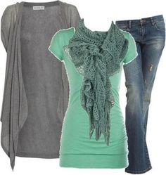 #green #scarf #top #pants #vest #Polyvore #fashion #clothes #outfit #style #cute