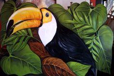 Animal Paintings, Animal Drawings, Graffiti Wall Art, Ap Studio Art, Bird Artwork, Painted Leaves, Tropical Birds, Bird Pictures, Wildlife Art