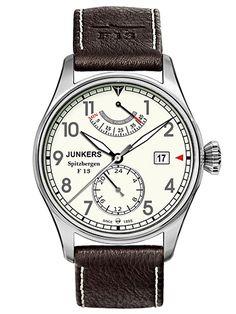 Montre Homme Junkers Automatique - Analogique - Cadran Titane Argent - Bracelet Cuir Marron - 61605 - Date