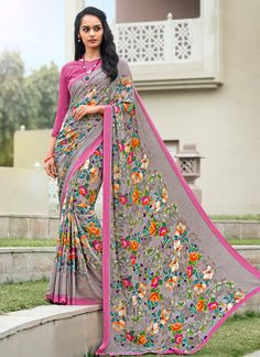 Style and pattern will be at the peak of your splendor once you dresses this Slate Grey Crepe Silk Saree. The attractive Printed work through the attire is awe-inspiring. SAREE