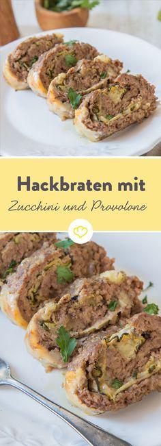 Feines Hackfleisch vom Rind mit cremigen Kartoffeln, würzigem Parmesan und duftender Petersilie, Zucchini und Provolone darin, der so schöne Fäden zieht.
