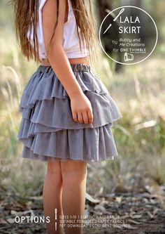 Lala skirt // tiered skirt sewing pattern // use tulle or cotton fabrics // pattern by Bubby and me creations for One Thimble Digital Sewing Magazine Issue 14