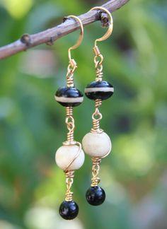 Black & gold wire wrap earrings