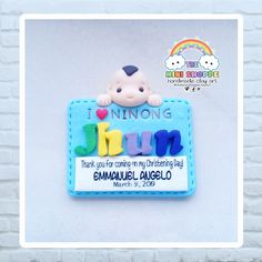 BABY BOY CHRISTENING MAGNET SOUVENIRS FOR NINONG & NINANG (GODPARENTS)  * CAN ALSO BE CUSTOM-MADE FOR BABY GIRL* 100% HANDMADE MATERIAL: POLYMER CLAY