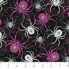 Spooky Spiders Halloween Fabric, Elegantly Frightful Glittery Halloween Fabric Northcott Halloween Fabric By The Yard & Fat Quarters Halloween Fabric, Halloween Spider, Halloween Apothecary Jars, Dark Material, Fright Night, Block Of The Month, Fabulous Fabrics, Sewing Notions, Printing On Fabric