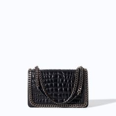 ZARA - WOMAN - CROCODILE PATTERN LEATHER CITY BAG WITH CHAIN