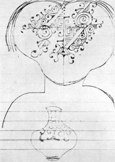 Caduveo face painting on paper - C. Lévi-Strauss
