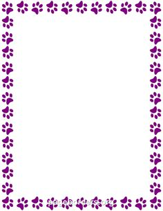 Printable Purple Paw Print Border Use The In Microsoft Word Or Other Programs For Creating Flyers Invitations And Printables