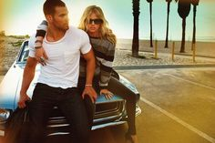 kate-upton-kellan-lutz-by-yu-tsai-dylan-george-abbot-and-main-fall-2012-1, couple, sunset, photography, car