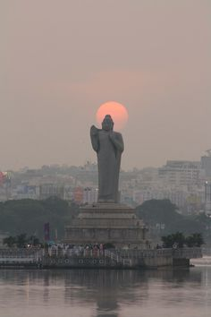 Statue of Gautama Buddha at sunset. Hussain Sagar, Hyderabad, Andhra Pradesh, India. ♥♥♥