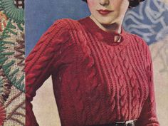 ($1.00) A vintage 1937 Cable Knit Sweater pattern to download. This jumper is designed for a 32-34 inch bust with a gauge of 6 stitches to an inch measured over the widest part of the cable stitch. Pattern calls for using a cord yarn but a heavy sweater yarn will do. (Sport Weight Yarn) The ribbing section of the jumper is done using an old size 9 needle or modern day US size 5 or 3.75mm needle.