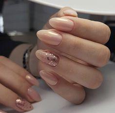 pink nails with glitter \ pink nails . pink nails with glitter accent . pink nails with rhinestones . pink nails with glitter Red Wedding Nails, Simple Wedding Nails, Wedding Nails Design, Oval Nails, Pink Nails, Glitter Nails, Purple Nail, Vernis Rose Gold, Cute Nails
