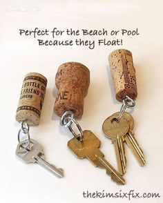 Never lose your keys again with these wine cork keychains. These are great for boat keys because they float!
