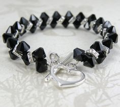 Black Onyx Crystal Tennis Bracelet Beaded Silver by fineheart