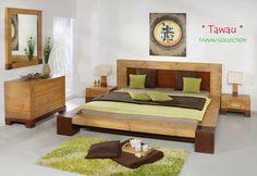 Bambusbett Tawau aus lasiertem Vollholz im Kopf- und Fußbereich. Lackierte Naturton-Ausführung des Crushed Bamboo