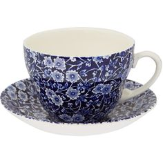 Burleigh Blue Calico Earthenware Breakfast Cup and Saucer found on Polyvore