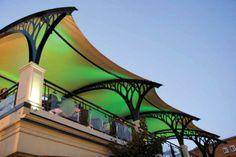 Bistro De La Gare Retractable Roof - International Achievement Awards Tensile Structures, Car Wash, Urban Design, Car Parking, Art Nouveau, Awards, Shades, Patio, Architecture