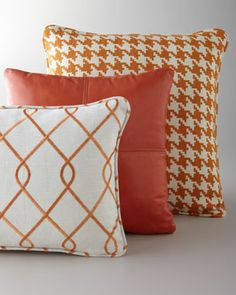 Pillows in Shades of Orange at Horchow.# horchow nice pop of orange Orange Pillows, Orange Fabric, Couch Pillows, Throw Pillows, Orange Home Decor, Orange House, Home Decor Trends, Home Accessories, Decorative Pillows