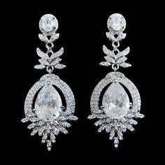 Vintage Inspired FL Zircon Wedding Earrings Bridal by Annamall, $23.99