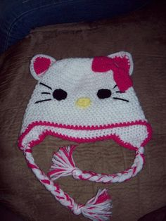 Crochet Hello Kitty Animal Hat or Beanie  by CritterCapsByJenn, $12.00