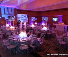 Accent lighting for a New York Giants Football Themed Wedding  #footballwedding