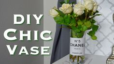 DIY Chanel Designer Vase Simple Easy Cheap White Room Decor Classy Minimalist Idea Flowers Tutorial Video How To Cheap Affordable Dollar Tree Mod Podge Craft