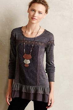 Greylace Tunic #anthropologie||| love this! T shirt to long,to short,a spot on it!!!