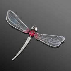 Fred Leighton white jade dragonfly brooch with red spinel and diamonds