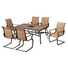 Hampton Bay Cavasso 7Piece Metal Outdoor Dining Set with Oatmeal