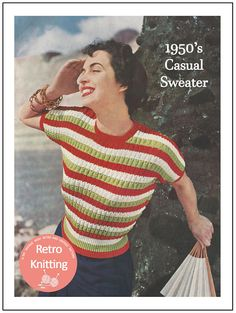 154085ddb8df1 1950 s Striped Magyar Sweater Knitting Pattern PDF Couture Vintage