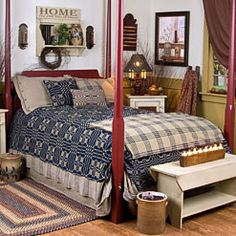 Prim Four Poster Bed...lovely coverlets.