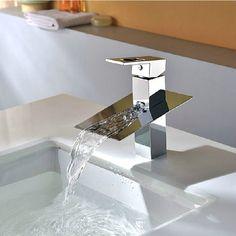 Big Spout Chrome Bathroom Faucet Deck Mounted Tap Mixer Waterfall Basin Sink Faucet JN6007 #Affiliate