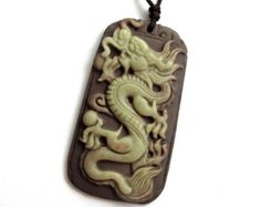 Tibet Bone Happy Lucky Chinese Zodiac Dragon Amulet Pendant Double Faces