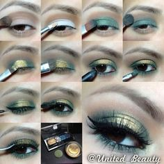 here is another #pictorial i hope you learn something, thanks eveyone for your support!  Steps: 1⃣I start with a primer and add a soft brown on the crease with a blending brush. 2⃣I add a white base Nyx jumbo pencil in milk with a small concealer brush on the lid keep it under the crease. 3⃣with a green shadow and a flat brush tap the green all over the white. 4⃣With the same blending brush i use to add the brown i blend the two colors together and soft the edges. 5⃣with a small flat brush…