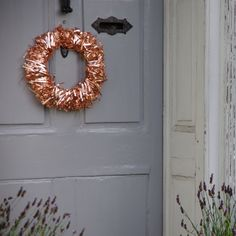 Our summer front door with our copper wreath now for sale on easy. #Copper #Wreath #Copperwreath #home #door #decor
