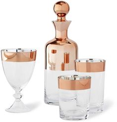 Copper-rimmed barware collection