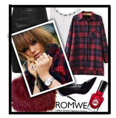 """ROMWE Plaid Blouse"" by mycherryblossom ❤ liked on Polyvore featuring Sally Hansen, Rebecca Minkoff, romwe and plaid"