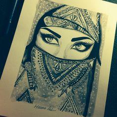 #drawing#arabic#makeup#painting#hijab#eyes#by#haseenafaiz