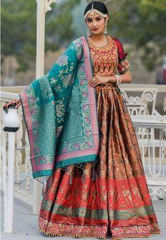 Copper Brown Banarasi Silk Lehenga Choli
