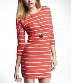 Express Striped Drop Shoulder Knit Dress Photograph