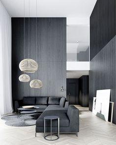 Inspiratie voor een #modern #interieur. Strakke lijnen, high tech apparatuur, een harde vloer van hout of beton. Gordijnen voegen warmte toe aan deze stoere mix.