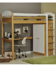 loft bed with desk. great for a small kid's room.