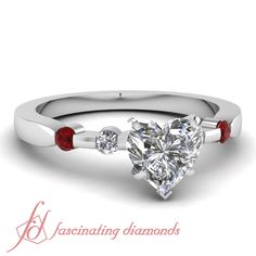 Heart Shaped and Round Diamonds & Red Ruby 14K White Gold Side Stone Engagement Ring in Bar Setting || Interlinked Bar Ring
