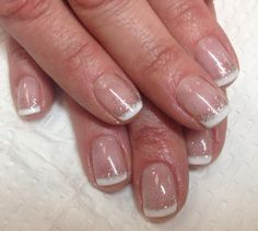 French manicure with glitter