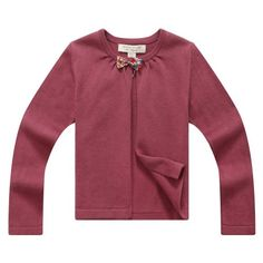Cashmere sweater  Richie House Girl's Maroon Open Cardigan with Bow RH0637-A-4/5 Get Rabate