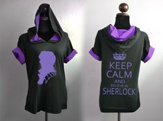 SHERLOCK bbc black and purple Cotton Hoodie short sleeve Sherlock silhouette 221B and keep calm and believe in Sherlock