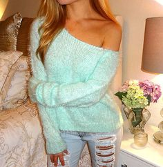 The Buckle Decree Pastel Mint Baby Soft Fuzzy Off Shoulder Light Sweater Top S M