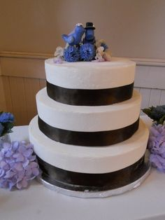 Tiered ice cream wedding cake from The Hop- Kahlua Fudge, Chocolate, and Grasshopper homemade ice cream inside!
