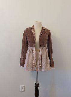 Velveteen Coat, Victorian riding jacket, Romantic Vintage Fringed, Mori, Shabby chic, Boho chic, Eco Earth Friendly, Upcycled Clothing XS/SM