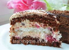 """Торт """"Зимняя вишня"""" - кокосовый торт с шоколадными коржами и вишней. Пошаговый рецепт с фото. Авторский рецепт от Mandarinka."""